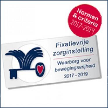 Waarborgzegel Fixatievrije Zorginstelling 2017-2019 gepubliceerd