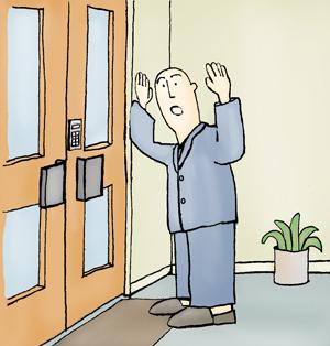 Gesloten deur in verzorgingshuis