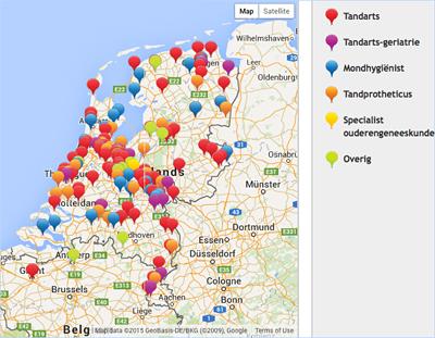 Kaart met kleurcodes op website NVGD