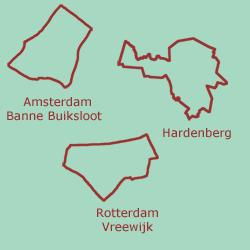 De drie regio's van De mond niet vergeten: Amsterdam, Rotterdam en Hardenberg