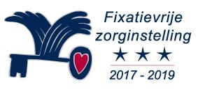 Logo Waarborgzegel Fixatievrije Zorginstelling met drie sterren