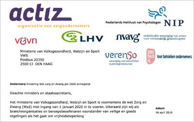 brief brancheorganisaties aan minister VWS