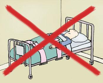 Niet vastbinden in ziekenhuisbed